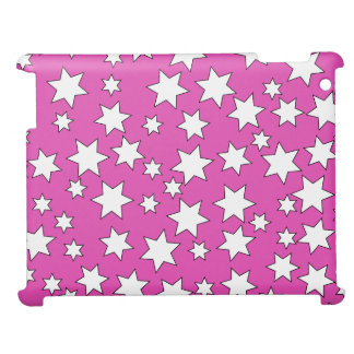 Random White Stars on Bright Pink iPad Covers