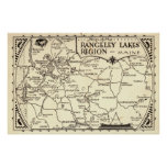 Rangeley Lakes Map Maine Vintage Posters