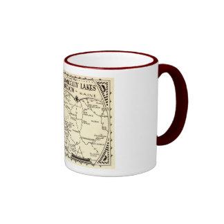 Rangeley Lakes Map, Maine Vintage Ringer Mug