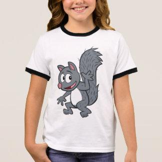 Ranger Rick   Gray Squirrel Waving Ringer T-Shirt