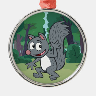 Ranger Rick | Gray Squirrel Waving Silver-Colored Round Decoration