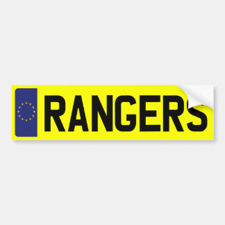 RANGERS Number Plate Bumper Sticker