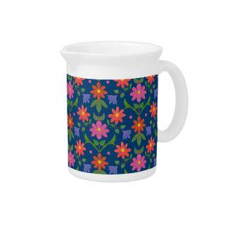 Rangoli Flowers, Polka Dots on Blue Pitcher or Jug