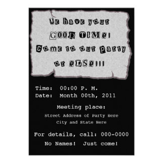 Ransom Note For Party Custom Announcement