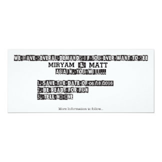 Ransom Note - Save the Date 10 Cm X 24 Cm Invitation Card