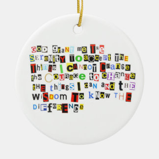 Ransom Note Serenity Prayer Round Ceramic Decoration