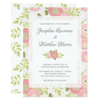 Ranunculus & Lace Peach Floral Wedding Invitations
