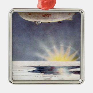 Raold Amundsen's airship Norge over North Pole Silver-Colored Square Decoration
