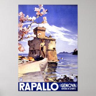 Rapallo Genova Italy Vintage Travel Poster