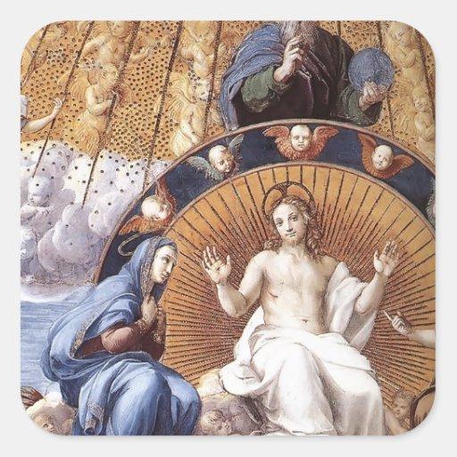 Raphael:Disputation of the Holy Sacrament (detail) Square Sticker