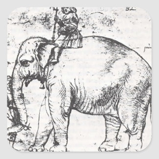 Raphael: Hanno, The Pope's Leo X Elephant Square Stickers
