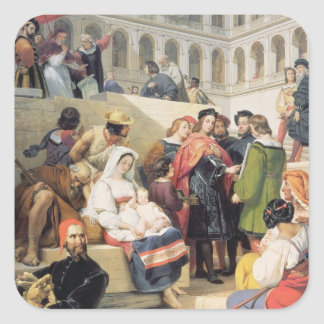 Raphael in the Vatican, 1832 (oil on canvas) Square Sticker