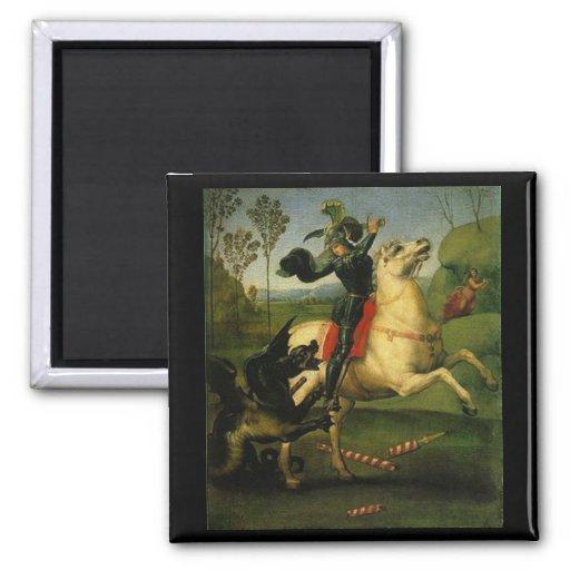 "Raphael:""St. George Fighting the Dragon"" Art Magnet"