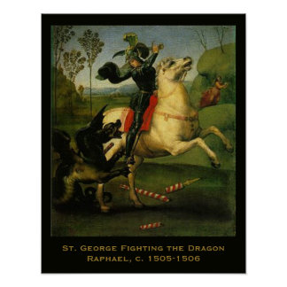 Raphael St George Fighting the Dragon Art Posters