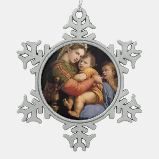 Raphael's masterpiece,  Madonna della seggiola Snowflake Pewter Christmas Ornament