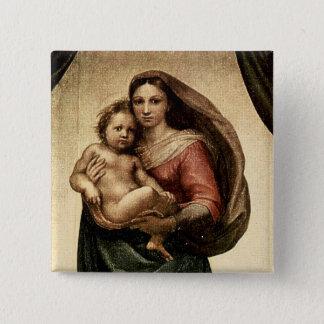 "Raphael's ""Sistine Madonna"" Detail (circa 1513) 15 Cm Square Badge"