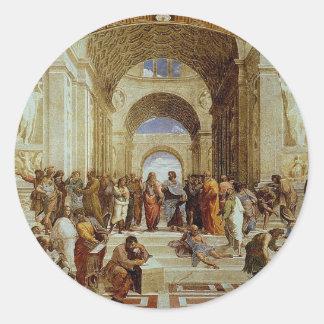 "Raphael's ""The School of Athens"" (circa 1511) Classic Round Sticker"