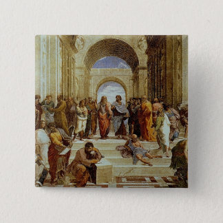 "Raphael's ""The School of Athens"" Detail circa 1511 15 Cm Square Badge"