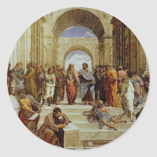 """Raphael's """"The School of Athens"""" Detail circa 1511 Classic Round Sticker"""