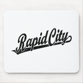 Rapid City script logo in black distressed Mouse Pad