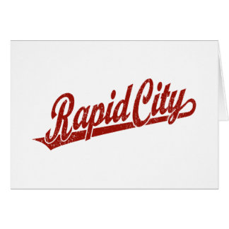 Rapid City script logo in red distressed Greeting Card