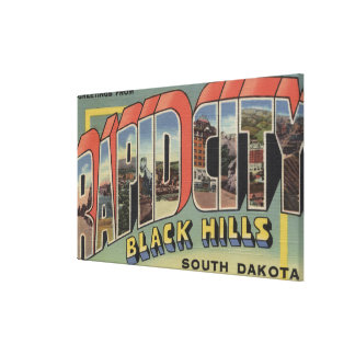 Rapid City, South Dakota - Large Letter Scenes Canvas Print