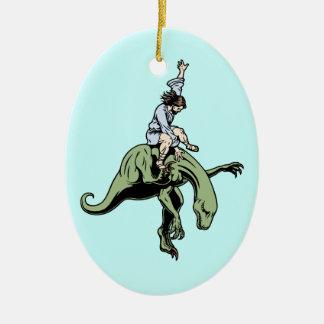 Raptor Rodeo Jesus Christmas Ornament