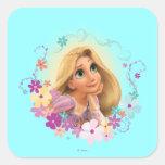 Rapunzel Flower Frame Square Stickers
