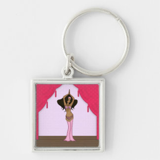 Raqs Sharqi Bellydancer in Pink Costume Silver-Colored Square Key Ring