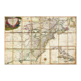 RARE 1779 Colonial America Map by Rene Phelippeaux Canvas Print