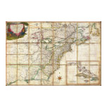 RARE 1779 Colonial America Map by Rene Phelippeaux Stretched Canvas Print