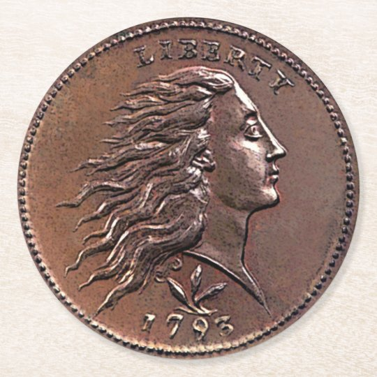 Rare 1793 U.S. Penny Round Paper Coaster