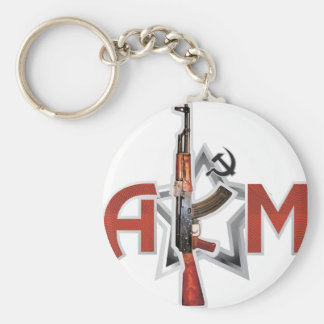 RARE AK-47 AKM ARMY KALASHNIKOV GUN MILITARY BASIC ROUND BUTTON KEY RING