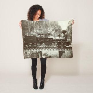 Rare antique Logging Train Blanket