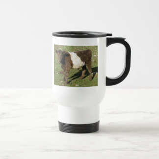 Rare Dun Belted Galloway Calf Stainless Steel Travel Mug