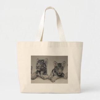 Rare Pair  White Tiger Cubs Jumbo Tote Bag