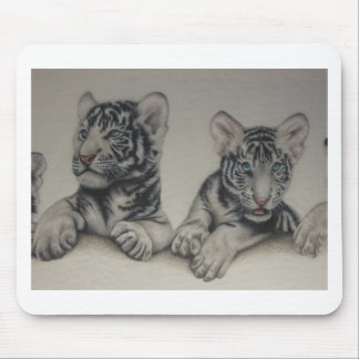 Rare Pair  White Tiger Cubs Mouse Pad