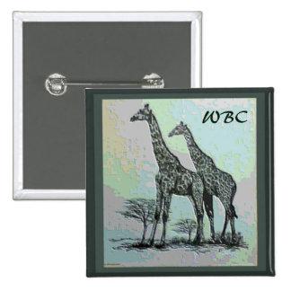 Rare Retro African Giraffes in High Color Design 15 Cm Square Badge