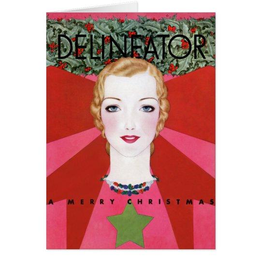 RARE VINTAGE CHRISTMAS ART DECO CHRISTMAS CARD