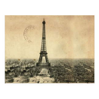 Rare vintage postcard with Eiffel Tower in Paris