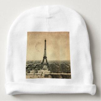 Rare vintage postcard with Eiffel Tower in Paris Baby Beanie
