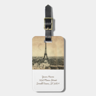 Rare vintage postcard with Eiffel Tower in Paris Bag Tag