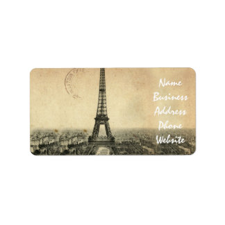 Rare vintage postcard with Eiffel Tower in Paris Label