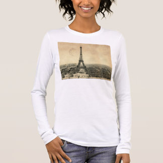Rare vintage postcard with Eiffel Tower in Paris Long Sleeve T-Shirt