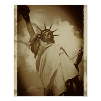 Rare Vintage Statue of Liberty Historical Picture Poster