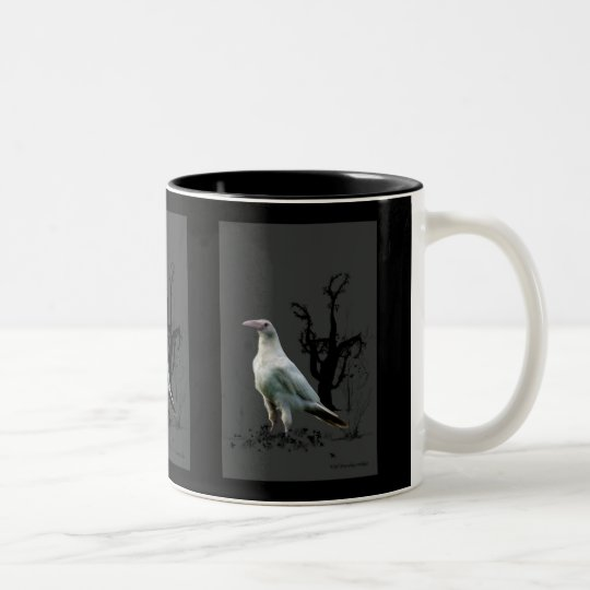Rare White Raven Wildlife Art Two-Tone Coffee Mug