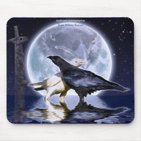 Rare White Ravens & Moon Wildlife Fantasy Art Mouse Mat