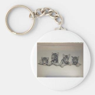 Rare White Tiger Cubs Basic Round Button Key Ring