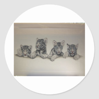 Rare White Tiger Cubs Stickers