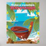 Rarotonga vintage travel poster